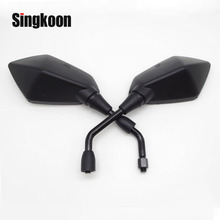 Universal 10mm Motorcycle Rearview Mirrors Black Scooter Moto Side Mirrors FOR kymco downtown honda shadow 750 bmw c650gt xsr700 chrome skull hand rearview mirrors for victory hyosung kymco scooter gy6 49 50cc