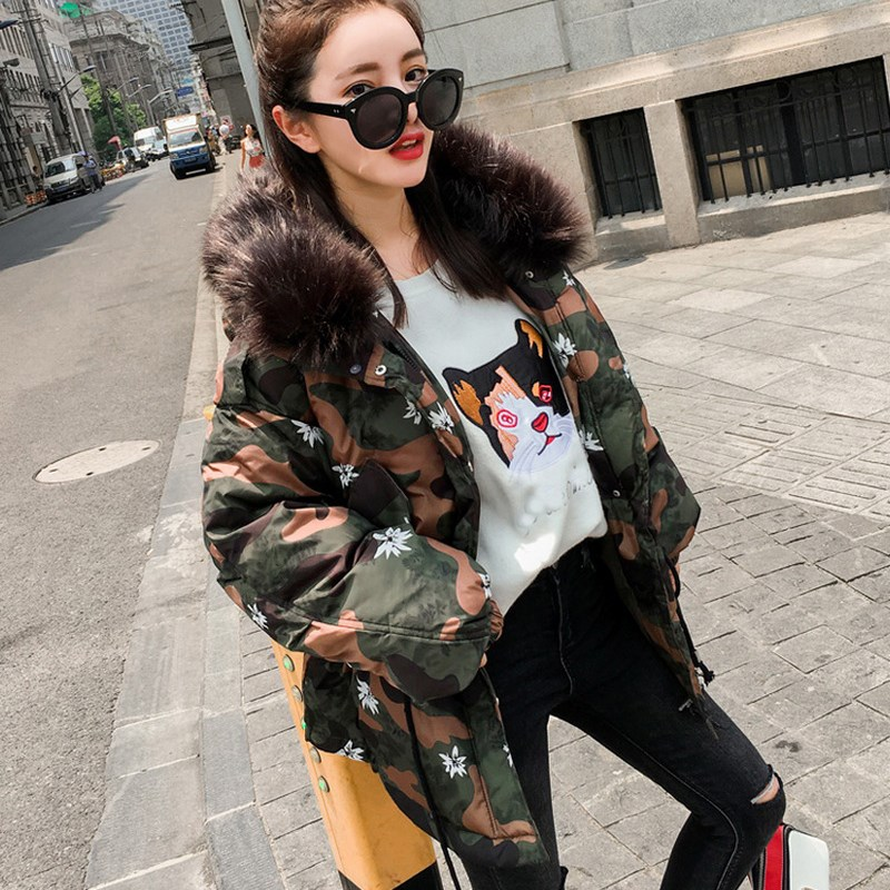 2017 New Fashion Large Raccoon Fur Collar Winter Jacket Collar Hooded Women Jacket Coats Collar Thicken Warm Padded Cotton Coat thicken warm 2017 new winter jacket women s parkas coats large raccoon fur collar winter jacket collar hooded fashion quality