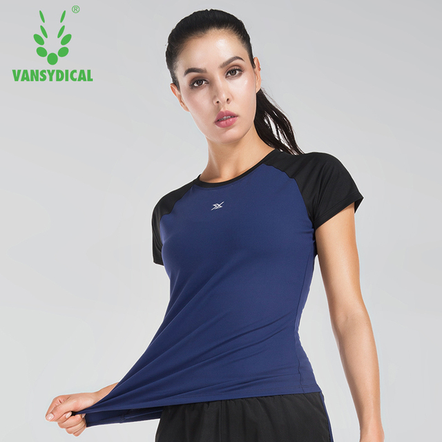 Vansydical Short Training Tees Workout Running Shirts Yoga Women's nm8wvN0