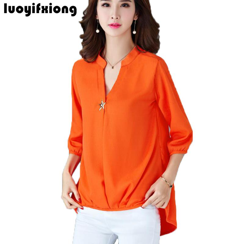 2011ccf6d10 s-5xl plus size women blouses 2018 spring summer new women casual 3 4 sleeve  v-neck blouse shirts fashion loose women tops