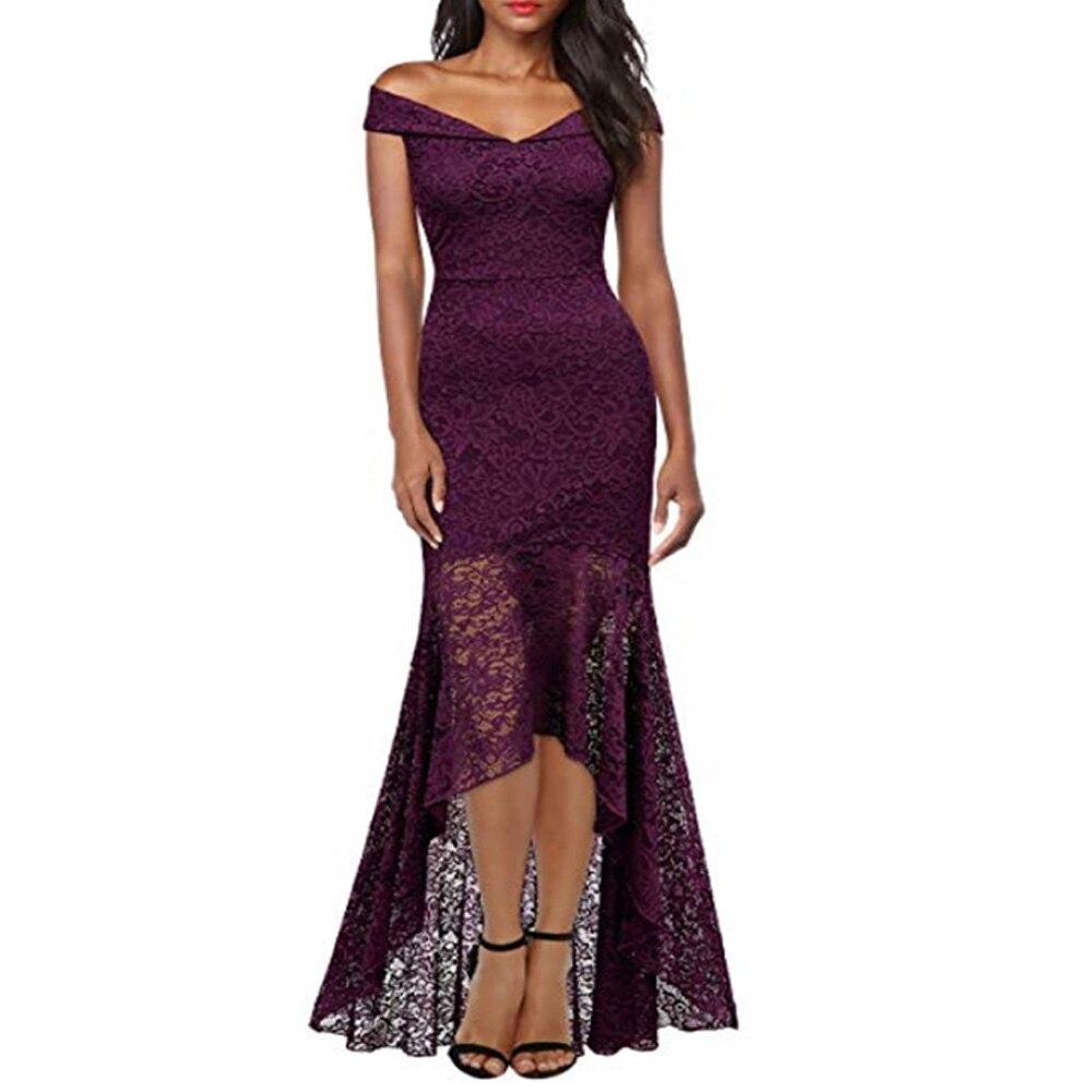 Court avant longue dos fête formelle dentelle robes 2019 Slash cou dentelle femmes robe rouge foncé bleu haut bas robe Vestidos De Novia - 5