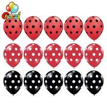 15 шт./лот черный, красный латексных шарика в горошек надувные шары Mickey Мышь тема День Рождения globos 12 дюймов для свадьбы или «нулевого дня рождения» вечерние украшения