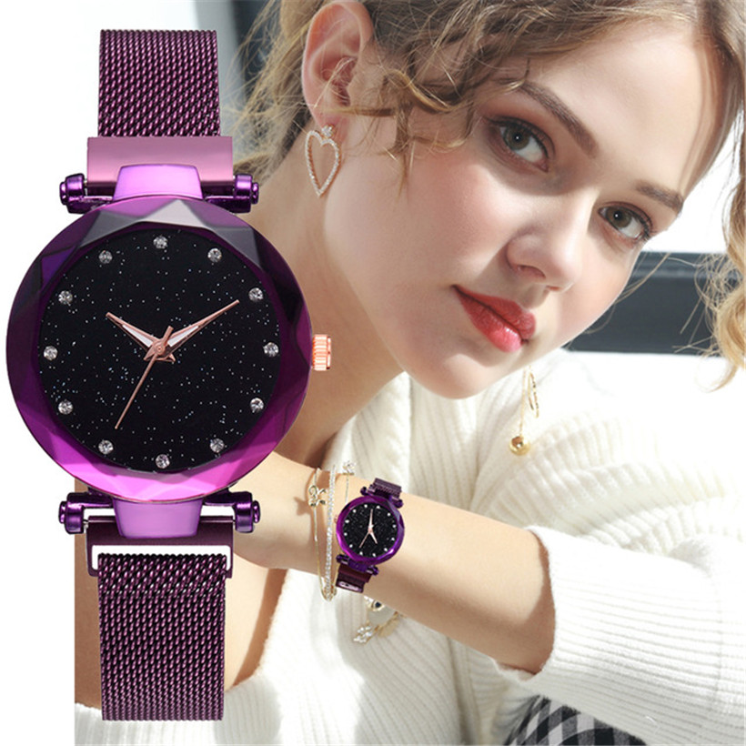 Watches Hot Sale Luxury Mesh Ladies Clock Magnet Buckle Starry Diamond Geometric Surface Casual Dress Quartz Wristwatch Women Watches Rose Watch