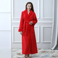 b34df74a8c ladies long bathrobes Flannel long sleeve autumn winter robe Kimono Bath  Robe Dressing Gown Red warm