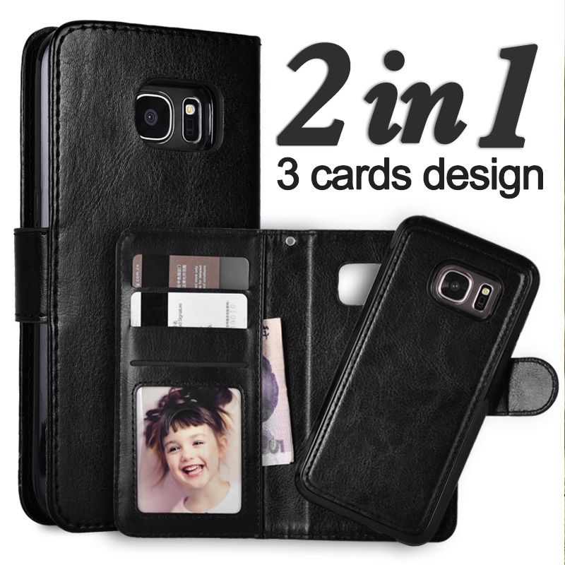 För Samsung Galaxy S7 Edge Case Avtagbart läderfodral för Samsung S7 Edge Case Wallet S7 S6 Edge S8 Case Note9 S8 Plus S9 Cover