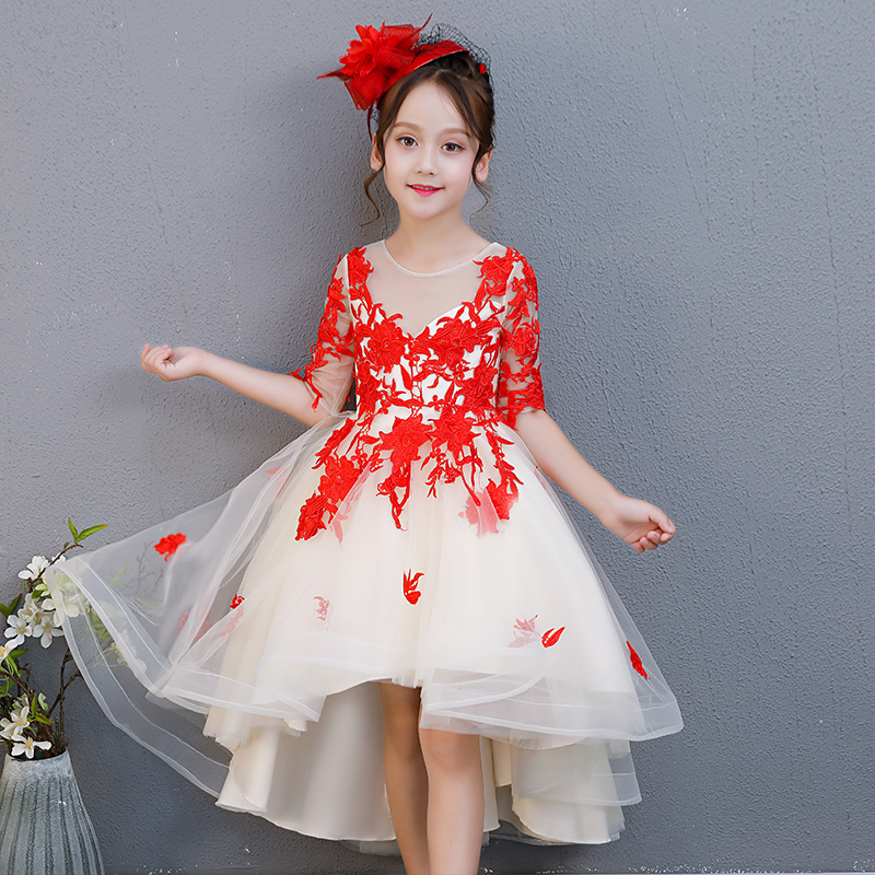 2018 Spring Autumn New Children Girls Red Lace Birthday Wedding Party Ball Gown Dress Baby Teens Model Show Evening Party Dress