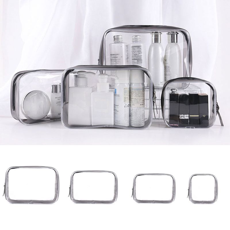 Fashion Women Travel Cosmetic Makeup Bag Lady Toiletry Holder Case Transparent Pouch Wash Storage Organizer Bag S/M/L/XL