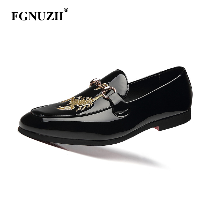 FGNUZH Newest Formal Shoes Pointed Toe Dress Fashion Men Loafers Leather Oxford Shoes for Men Mariage Wedding Shoes ST368(China)