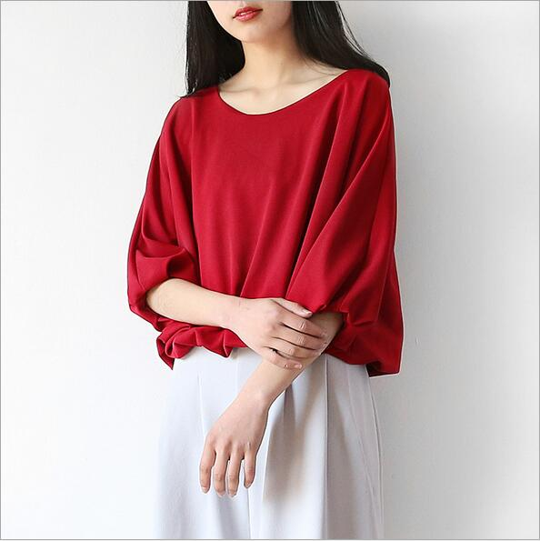 Lafhy Dofhy new 2017 export South Korea loose and comfortable art chiffon  blouse unique design summer ladies coat basic tops 102-in Blouses & Shirts  from ...