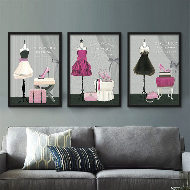 Modern Lady Beautiful Clothes High Heel Purse Canvas Painting Art Print Poster For Living Dining
