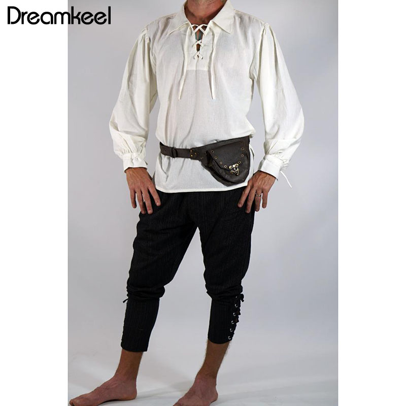 Conscientious Men Medieval Renaissance Viking Cosplay Costume Top Tunic Tudor Lacing Up Stand Collar Bandage Black White Shirt 2019 New Y Men's Clothing
