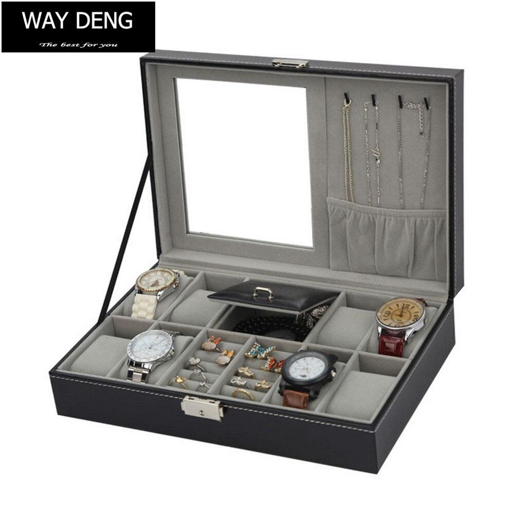 Façon Deng-Multi-but Noir En Cuir boîte en velours verrou métallique Boucle D'oreille Collier Montre Bijoux mallette de rangement Organisateur-YPK010