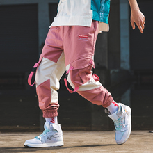 Cargo Pants Men Streetwear Belt 2019 Pink Color Block Hip Hop Overalls Mens Fashions Sweatpants Baggy Joggers Casual