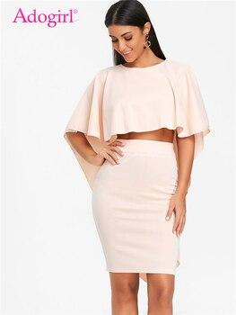 Adogirl zarif pembe iki parçalı Set kadın elbise O boyun pelerin kollu yüksek düşük düzensiz kırpma üst yüksek bel Bodycon mini etek