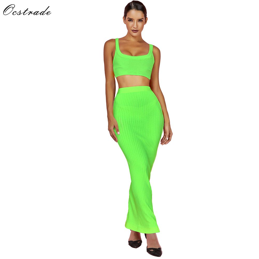 Ocstrade Summer Bandage 2 Piece Set 2019 New Arrival Women Neon Green Green Bandage Dress Bodycon