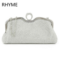RHYME New Fashion Women Evening Bag Austrian Diamond Aluminium Female Shinestone Banquet Wedding Party Lady Beaded Prom Clutch
