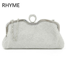 RHYME New Fashion Women Evening Bag Austrian Diamond Aluminium Female Shinestone Banquet Wedding Party Lady Beaded