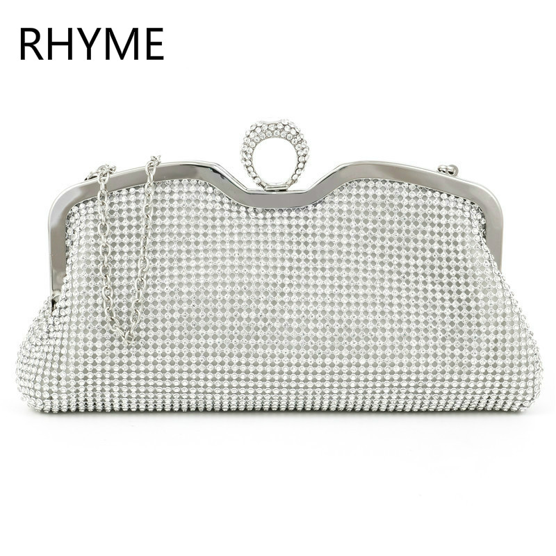 RHYME New Fashion Women Evening Bag Austrian Diamond Aluminium Female Shinestone Banquet Wedding font b Party