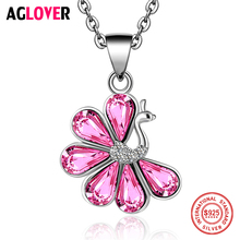 AGLOVER Fashion Crystal Necklace 925 Sterling Silver Women Charm Peacock 100% Silver Pendant Necklace AAAA Zircon Fine Jewelry
