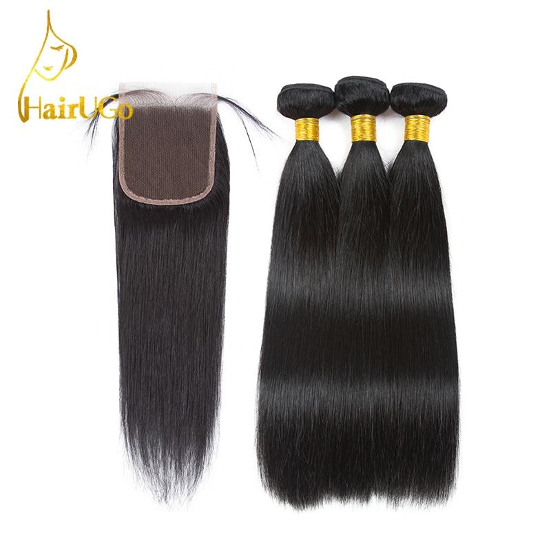 HairUGo Hair Pre-colored Brazilian Hair Straight 3 Bundles 100% Human Hair With Closure #1b Nature Black Non Remy Free Shipping