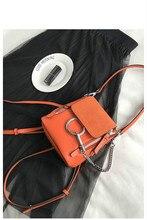 2017 новый случайный плечо сумка мини сумка Европейской и Американской моды диких круглые пряжки сплошной цвет небольшой рюкзак женский