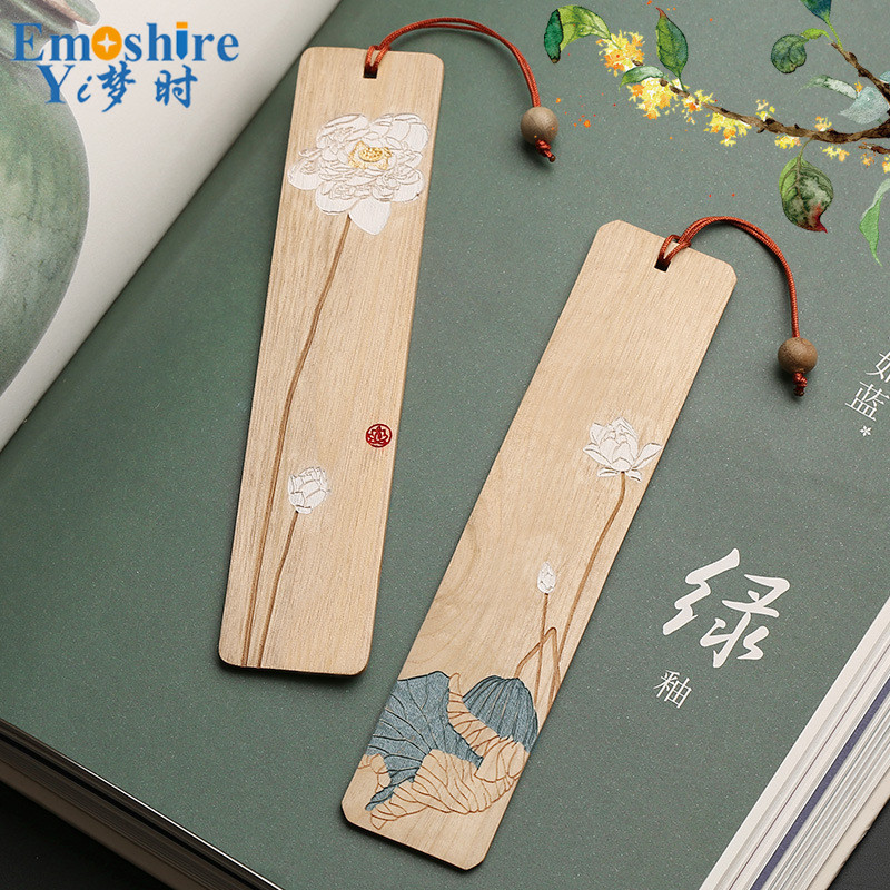 Retro Redwood Hibiscus Bookmark Set Wood Tassel Classical Bookmarks Chinese Style Creative Art Gifts Customized M093 full page bookmark magnifier