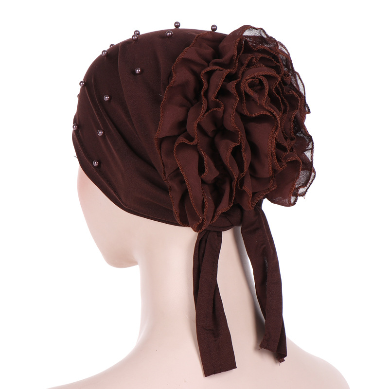 New Back Plate Floral Beads Milk Silk Solid Color Big Flower Headscarf Hat Moon Hat Muslim Baotou Hat Muslim Hijab Inner Hijabs Novelty & Special Use