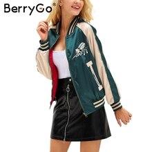BerryGo Embroidery reversible satin basic jacket coat Autumn winter street jacket women Casual baseball jackets sukajan 2017