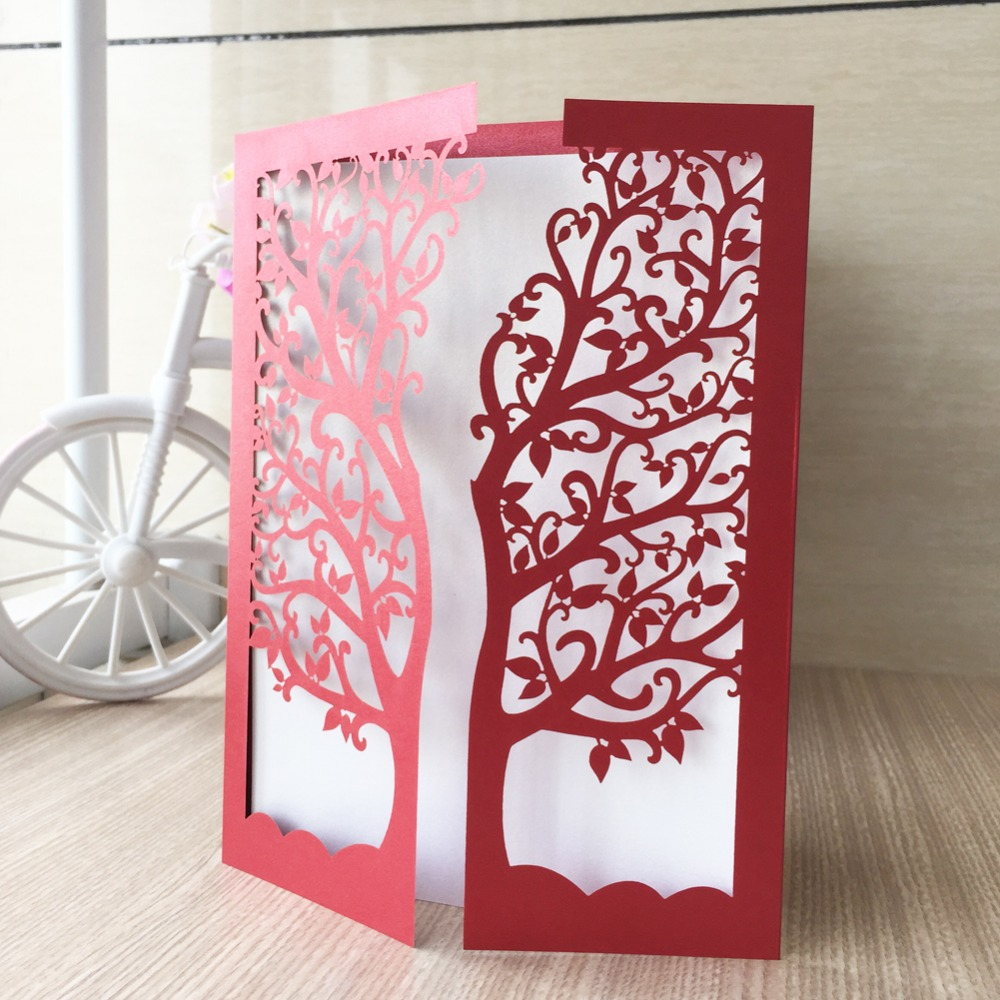 35pcs/Lot Laser Cut Tree Inviting Card Paper Party Event Supplies ...