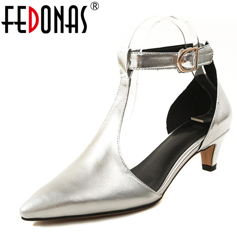 FEDONAS High Quality Women Genuine Leather Shoes Woman High Heels Sexy Pointed Toe Silver Gold Wedding Party Shoes Female Pumps hot sale pointed toe buckle charm fashion wedding shoes genuine leather sexy red pumps women pumps high quality high heels shoes