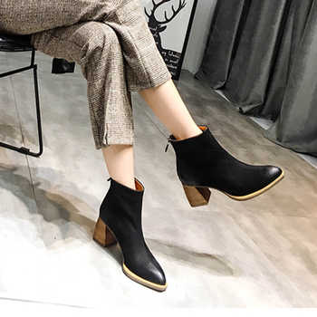 2019 VALLU Fashion Autumn Winter Shoes Women Ankle Boots Cowhide Leather  Female Booties Block High Heels Ladies Boots - DISCOUNT ITEM  50% OFF All Category