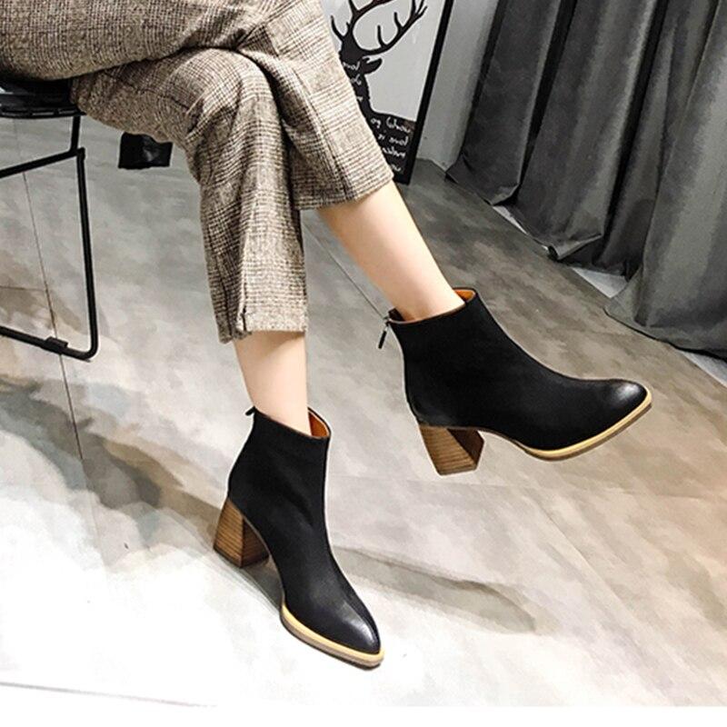 2019 VALLU Mode Herbst Winter Schuhe Frauen Stiefeletten Rindsleder Weibliche Booties Block High Heels Damen Stiefel-in Knöchel-Boots aus Schuhe bei  Gruppe 1