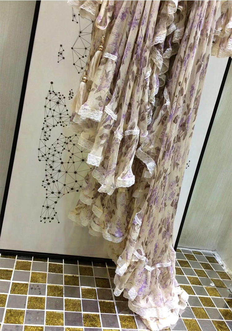 Women Long Sleeves Layered Cuffs Lavender Floral Print Asymmetrical Dress Silk Maxi Dress 8