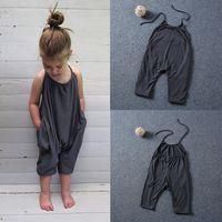 Moda Bebê Menina Roupas Sem Mangas Backless Algodão Romper Macacão Harém Calças Do Bebê Verão Macacão Menina