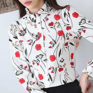 Image 2 - ربيع أنيق المرأة قميص موضة جديدة رسمية الوقوف طوق طباعة طويلة الأكمام ضئيلة الشيفون البلوزات مكتب السيدات بلوزات حجم كبير