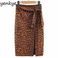 Skirts Womens Bow Tie High Waist Vintage Leopard Skirt Female Sexy Split Pencel Midi Skirt faldas mujer moda 2018 SDP9064