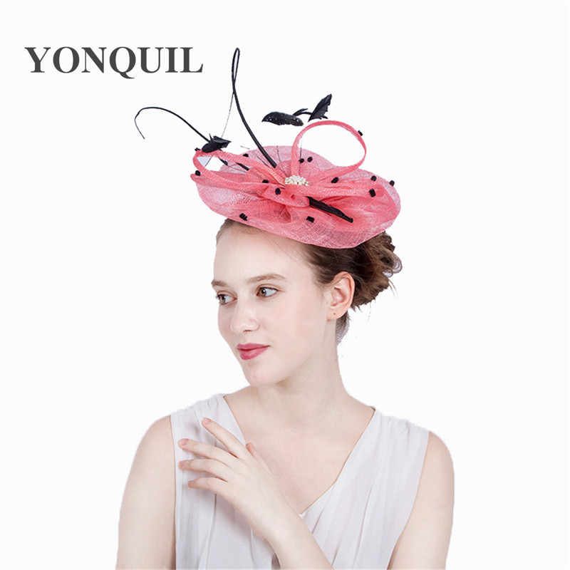 ... Fascinator hat sinamay royal ascot derby big pink women party wedding  hair accassories with ostrich quill ... 14b5398e1f4