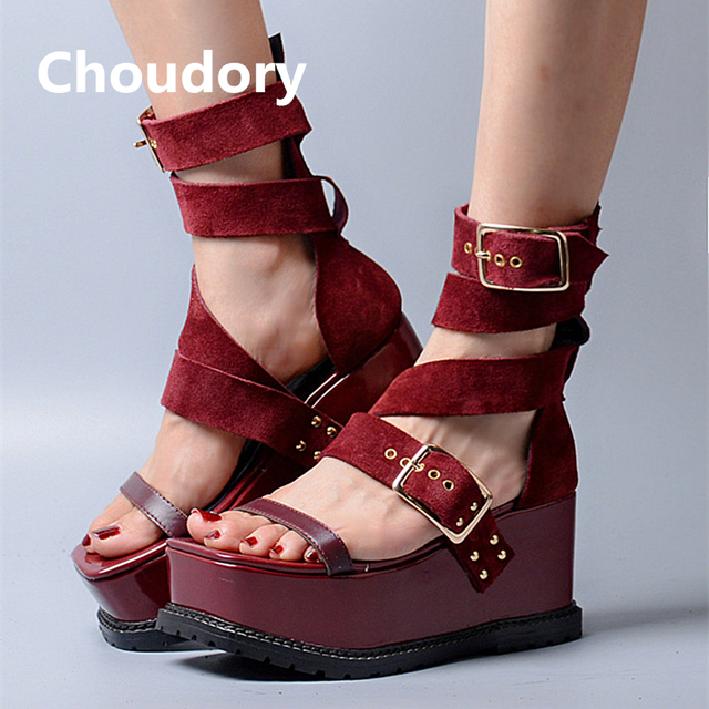 7c06800df19f03 Choudory Metal Buckles Women Platform Sandals Suede Leather High Heels  Wedges Shoes Woman Sexy Pep Toe