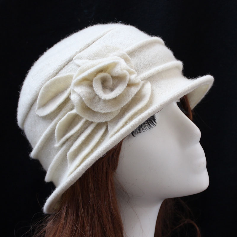 Fibonacci Middle aged Women Fedora Hat Floral Wool Mom Hats Autumn Winter Dome Floppy Warm Cap