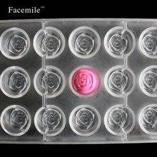 Facemile rose flower policarbonato herramienta de los pasteles de plástico caramelo de chocolate del molde para hornear bandeja de horno 54009 de regalo