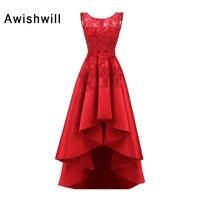 New Arrival 2018 Red Evening Dress Tay Ren Appliques Satin Không Đối Xứng Cổ Điển Buổi Tối Gowns Nữ Formal Dresses