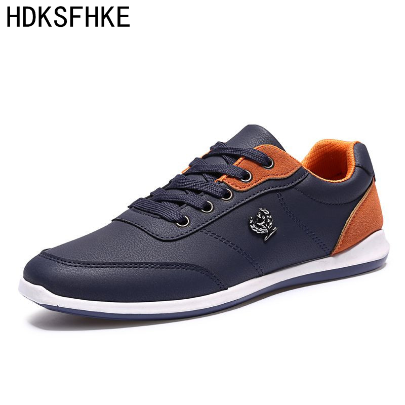 Nya 2017 Mode Män Casual Shoes Utomhus män Walking Shoes Svart Blå Män Casual Shoes Men Pu Läderskor