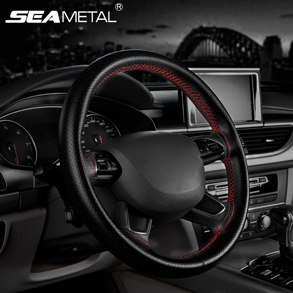 Car steering wheel covers microfiber leather auto universal steering wheel cover for honda civic car styling