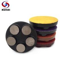 RIJILEI 5PCS/set 80mm Diamond Concrete polishing Pad 3 Metal Bond Floor Polishing Stone Grinding Disc Wheel WFD12