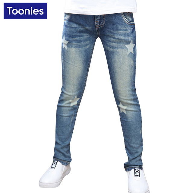 Cute Star Pattern New Jeans for Girls 2016 Winter Autumn Kids Pants Elastic Pencil Pants Children's Jeans High Quality Trousers