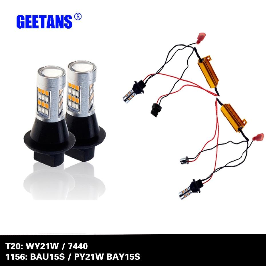 Автомобиля СИД T20 7440 WY21W BAU15S 1156 BAY15S дневного света и передние поворотники свет автомобиля DRL указатель поворота белый + желтый переменного тока