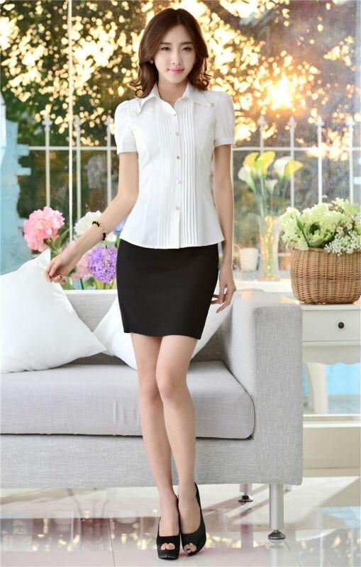 bc4fb9f35 Oficina mujer moda trajes para mujeres Work Wear con falda y blusa Sets  Tops camisa de mangas cortas para mujer formales estilos uniformes en Trajes  de ...