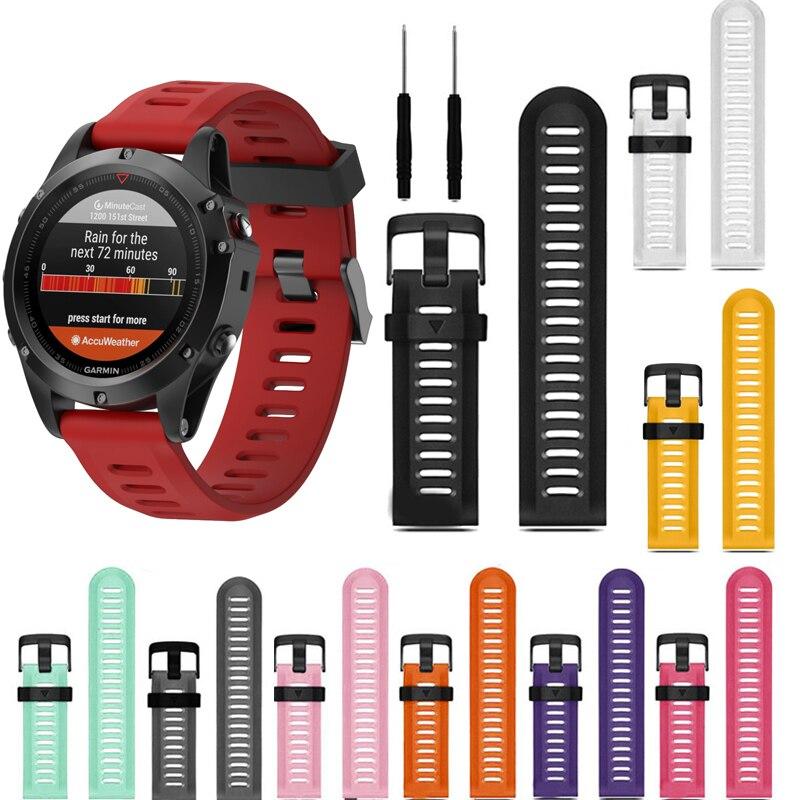 26mm Width Watch Strap for Garmin Fenix 3 Band Outdoor Sport Silicone Watchband for Garmin Fenix3HR/Fenix 5X with tools