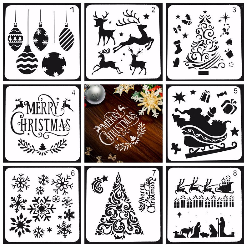 1pc Novelty Plastic Merry Christmas DIY Drawing Template Ruler Promotional Gift Stationery School Supplies Xmas Gift Multi Ruler