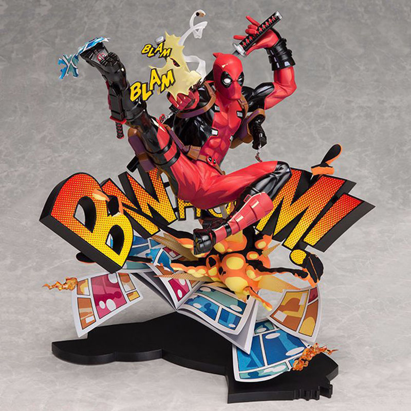 Marvel Comics Deadpool Scene Dead Waiter Breaks The Dimension Wall Hand Model Collection Car Ornaments Kids Toys Gifts 24cm pvc deadpool action figure breaking the fourth wall scene dead pool kids birthday christmas model gift toys